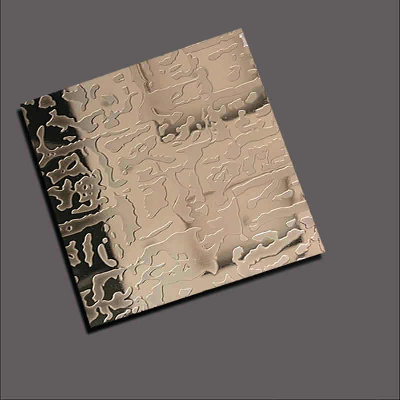 Stainless steel sheet with etch free grain rose gold