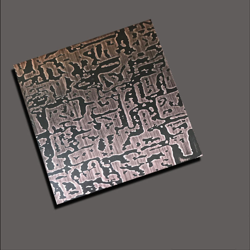 Etch  stainless steel sheet with free grain antique copper