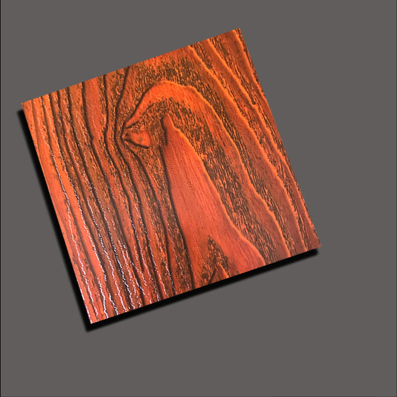 Etched stainless steel sheet with transfer wood grain