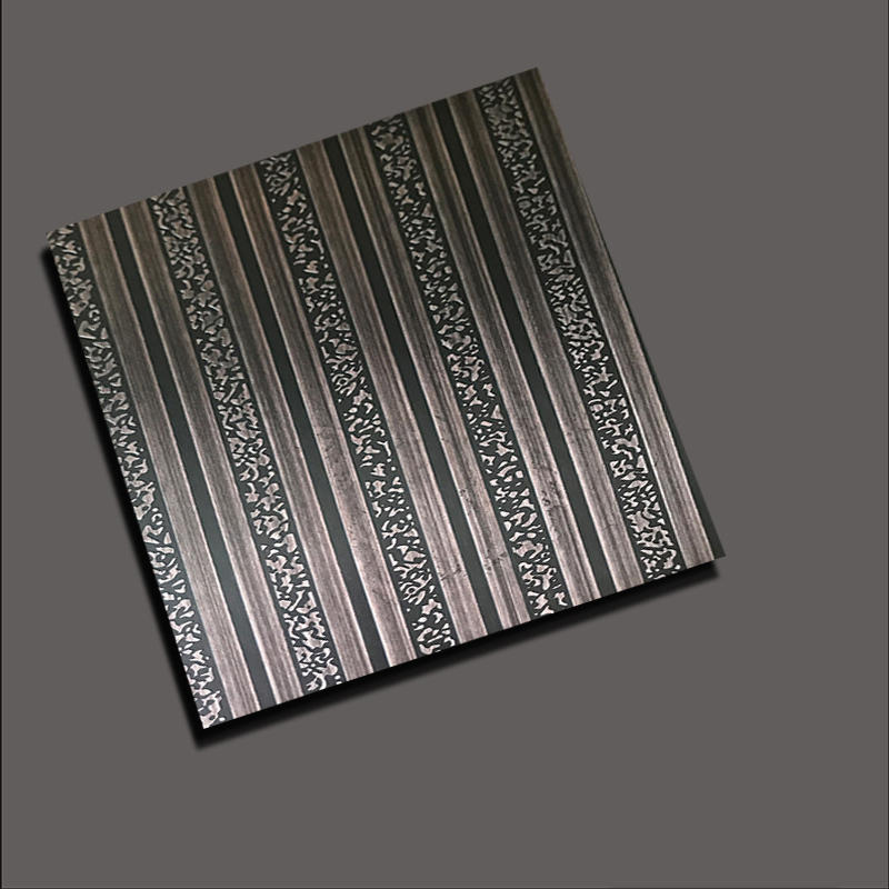 Stainless steel sheet - Etched lines of snowflakes mimic ancient copper