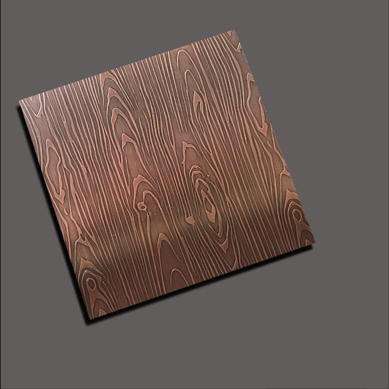 Stainless steel etch plate - Etch 3D wood grain red copper