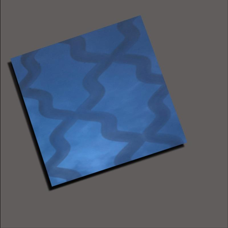 Stainless steel decorative color plate with apphire blue mirror laser