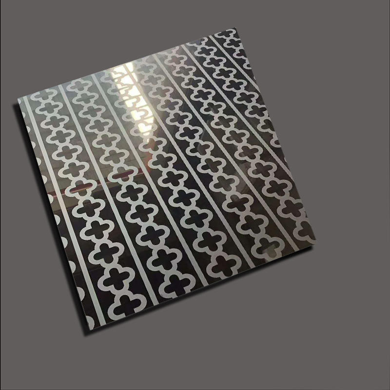 Lattice pattern etching stainless steel for elevator