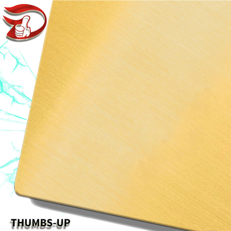 Hairline+Gold stainless steel nanometre decorative color plate