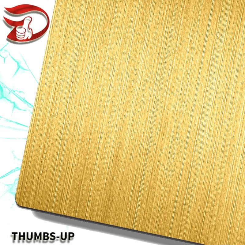 Hairline+Gold stainless steel nanometre coating plate